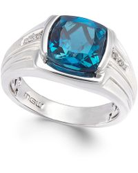 Macy's - Men's Blue Topaz (5 Ct. T.w.) And Diamond Accent Ring In Sterling Silver - Lyst