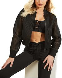 Guess Mesh-knit Zip-front Jacket - Black