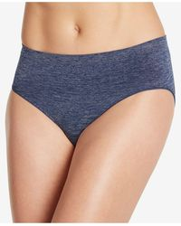 Jockey Smooth And Shine Seamfree Heathered Hi Cut Underwear 2188, Available In Extended Sizes - Blue