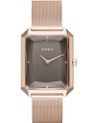 DKNY - Cityspire Rose Gold-tone Stainless Steel Mesh Bracelet Watch 27x34mm, Created For Macy's - Lyst