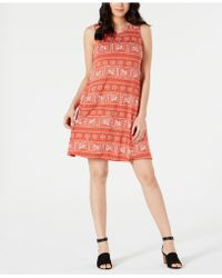 Style & Co. Petite Sleeveless Swing Dress, Created For Macy's - Red