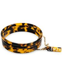 Zenzii Gold-tone/acetate 3-pc. Set Bangle Bracelets - Brown
