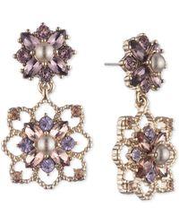Marchesa Gold-tone Crystal & Imitation Pearl Cluster Drop Earrings - Metallic