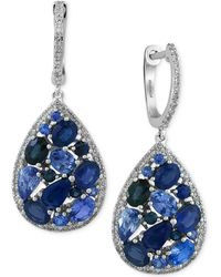 Effy Collection - Effy Sapphire (3-7/8 Ct. T.w.) And Diamond (2/5 Ct. T.w.) Drop Earrings In 14k White Gold - Lyst