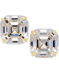 Macy's Cubic Zirconia Asscher Cut Stud Earrings In 10k Gold - Metallic