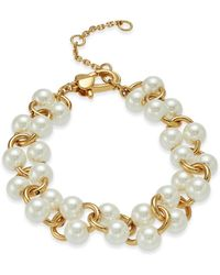 Kate Spade Gold-tone Imitation Pearl Link Bracelet - Metallic