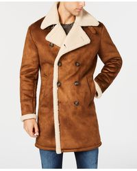 Guess Faux-shearling Overcoat - Brown