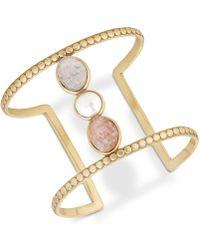 Lucky Brand - Druzy Stone & Imitation Pearl Openwork Cuff Bracelet - Lyst