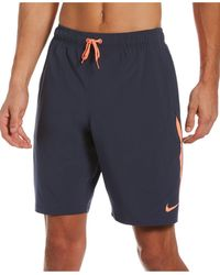 """Nike Contend Water-repellent Colorblocked 9"""" Swim Trunks - Blue"""