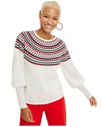 Charter Club Fair Isle Balloon-sleeve Cashmere Sweater, Regular & Petite Sizes, Created For Macy's - Multicolor