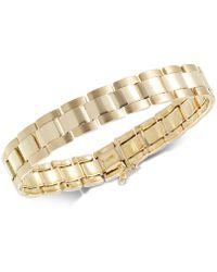 Macy's | Men's Satin Finish Link Bracelet In 10k Gold | Lyst