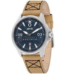 AVI-8 Hawker Harrier Ii Cream Genuine Leather Strap Watch 45mm - Multicolor