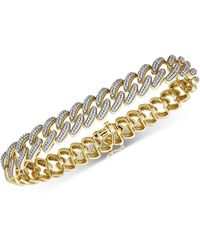 Macy's Diamond Cuban Link Bracelet (1 Ct. T.w.) In 14k Gold-plated Sterling Silver - Metallic