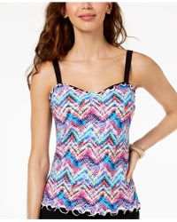 Gottex - Fantasia Printed Underwire D-cup Tankini Top - Lyst