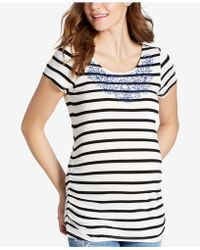 Jessica Simpson - Maternity Embroidered Striped T-shirt - Lyst