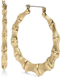 Betsey Johnson - Extra Large Gold-tone Bamboo-style Hoop Earrings - Lyst