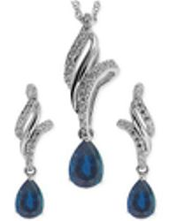 No Vendor | Sapphire ( 1-1/10 Ct. T.w.) And White Topaz (3/8 Ct. T.w.) Jewelry Set In Sterling Silver | Lyst