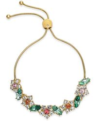 Charter Club Gold-tone Crystal & Stone Flower Slider Bracelet, Created For Macy's - Metallic