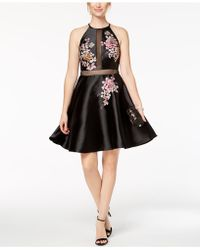 Xscape - Embroidered Illusion Fit & Flare Dress - Lyst