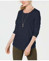 Style & Co. Long-sleeve Crewneck Top, Created For Macy's - Blue