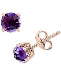 Effy Effy® Amethyst Stud Earrings (1-3/4 Ct. T.w.) In 14k Rose Gold - Multicolor