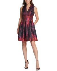 Vince Camuto Jacquard Fit & Flare Dress - Pink