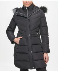 Karl Lagerfeld Faux Fur Hooded Puffer Coat - Black