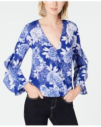 INC International Concepts - I.n.c. Floral-print Surplice Top, Created For Macy's - Lyst