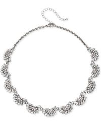 "Badgley Mischka - Rose Gold-tone Crystal & Imitation Pearl Collar Necklace, 16"" + 3"" Extender - Lyst"