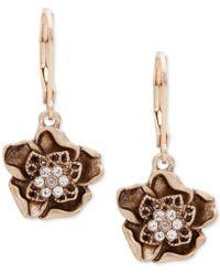 Lonna & Lilly - Gold-tone Crystal Flower Drop Earrings - Lyst