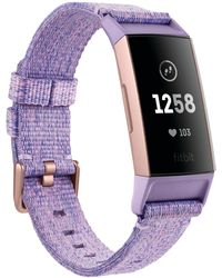 Fitbit Charge 3 Interchangeable Lavender/rose Gold-tone Fabric & Black Elastomer Strap Smart Watch 22.7mm - A Special Edition - Multicolor
