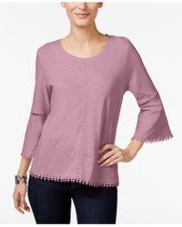 Style & Co. - Petite Crochet-trim Lantern-sleeve - Lyst