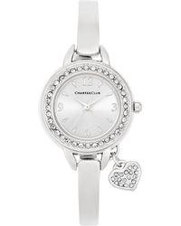 Charter Club - Women's Heart Charm Silver-tone Bangle Bracelet Watch 26mm - Lyst