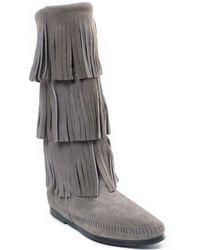 Minnetonka 3-layer Fringe Boot - Gray