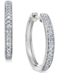 Macy's - Diamond Hoop Earrings (1/5 Ct. T.w.) In 14k White Or Yellow Gold - Lyst