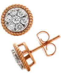 Macy's - Diamond Rope-framed Cluster Stud Earrings (1/2 Ct. T.w.) In 14k Rose & White Gold - Lyst