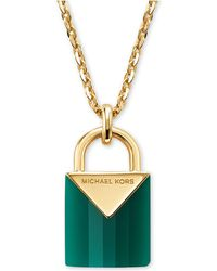 Michael Kors 14k Gold-plated Sterling Silver Lock Necklace - Metallic