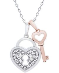 """Macy's - Diamond Accent Heart Lock & Key 18"""" Pendant Necklace In Sterling Silver & 14k Rose Gold-plate - Lyst"""