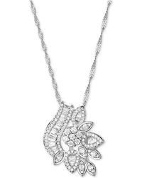 Macy's - Cubic Zirconia Fancy Cluster Pendant Necklace In Sterling Silver - Lyst