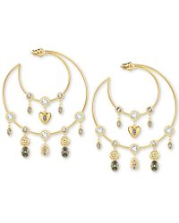 "Swarovski - Gold-tone Crystal Charm Crescent Moon 2-1/2"" Hoop Earrings - Lyst"