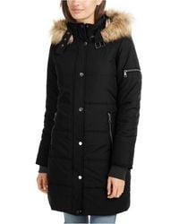 Maralyn & Me Juniors' Faux-fur Trim Hooded Puffer Coat - Black