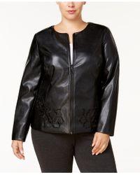 Alfani - Plus Size Floral Faux Leather Jacket - Lyst