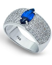 Macy's Cubic Zirconia Pavé Band Ring With Blue Cz Marquise Center Prong Stone In Fine Silver Plate