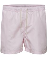 SELECTED Solid Color Swim Shorts - Pink