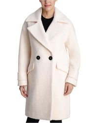 BCBGeneration Double-breasted Bouclé Walker Coat, Created For Macy's - Natural