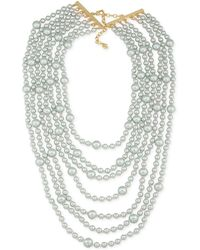 Carolee - Gold-tone Gray Imitation Pearl Multi-row Necklace - Lyst