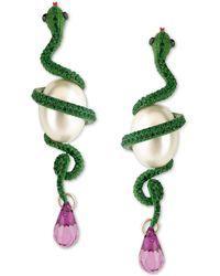 Bar Iii Zerina Akers Gold-tone Crystal & Imitation Pearl Snake Drop Earrings, Created For Macy's - Green