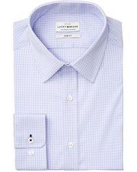 Lucky Brand Slim-fit Performance Stretch Lavender & Blue Micro Check Dress Shirt
