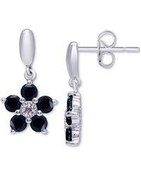 Macy's Sapphire Flower Drop Earrings (1-1/2 Ct. T.w.) In Sterling Silver - Metallic