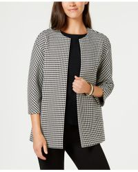 Anne Klein - Collarless Bonded Houndstooth-print Jacket, Created For Macy's - Lyst